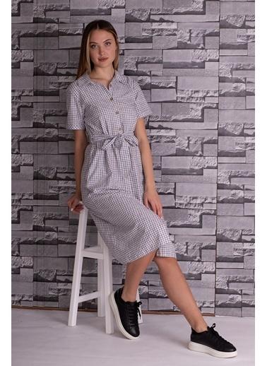Stamina  Bayan Önü Düğmeli Kısa Kol Bağcıklı Uzun Elbise-5KTE1 Siyah